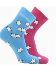 Horizon Kids Outdoor Socks 2 Pack Floral Cerise / Sky 12.5 - 3 - 80% Cotton