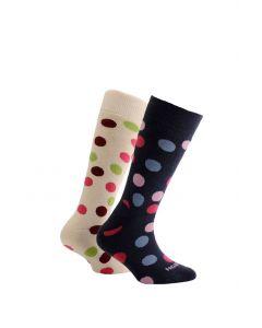 Horizon Kids Outdoor Socks 2 Pack Spots - Cream & Ink  - 12.5 - 3