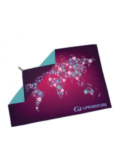 Lifeventure Flowers Map of the World Print SoftFibre Travel Towel