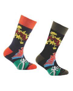 Horizon Kids Outdoor Socks 2 Pack Kapow! Print Black & Blue  12.5-3